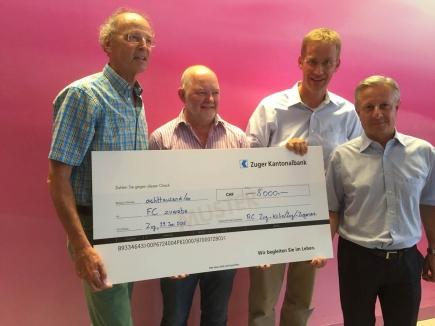 Von links nach rechts: Dr. Bruno Gysi, Präs. RC Zug-Kolin, Ambros Birrer, ZUWEBE, Othmar Stöckli, Präs. RC Zug-Zugersee, Beat Struchen, Präs. RC Zug